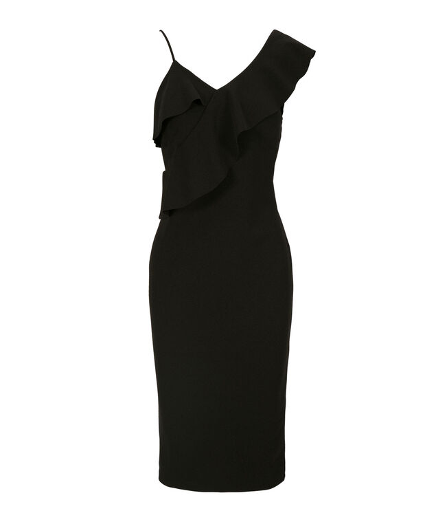 Ruffle Shoulder Detail Dress, Black, hi-res