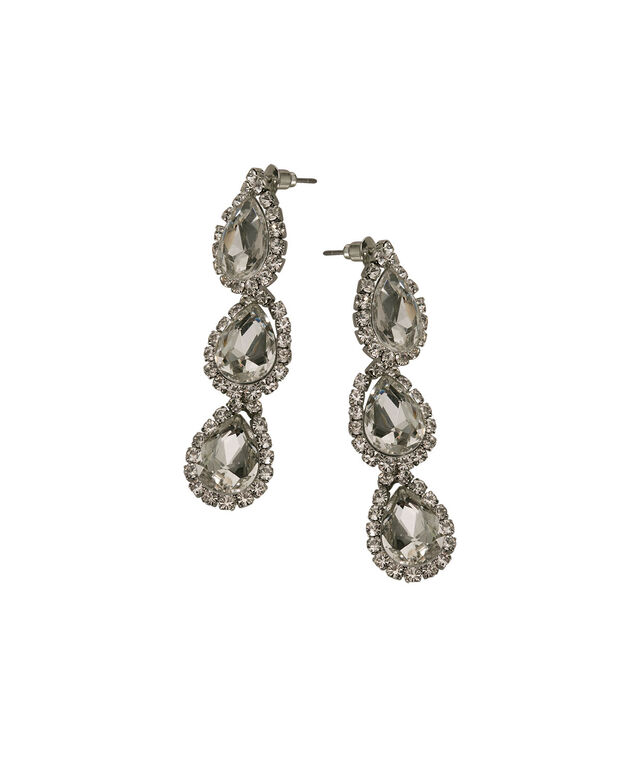 Triple Crystal Teardrop Earring, Clear/Rhodium, hi-res