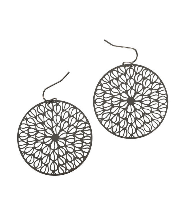 Cut-Out Medallion Earring, Rhodium, hi-res