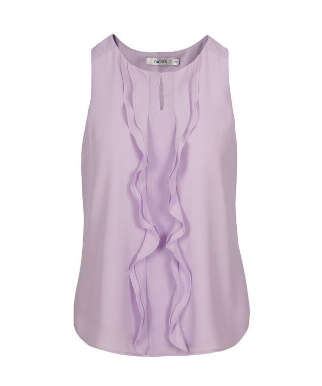 Ruffle Front Blouse, Iced Violet, hi-res