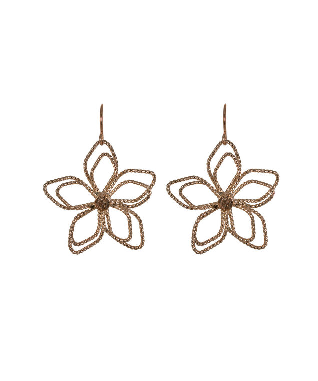 Rose Gold Wire Flower Earring, Pink/Soft Rose Gold, hi-res