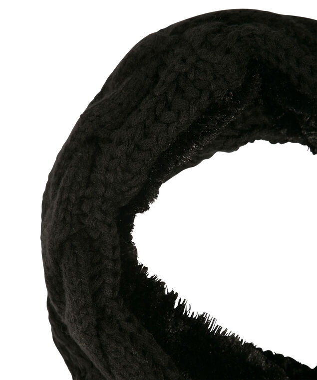 Cable knit Chenille Snood, Black, hi-res