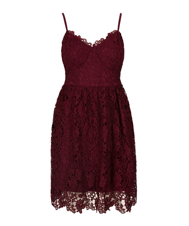 Strappy Crochet Lace Dress, Port, hi-res