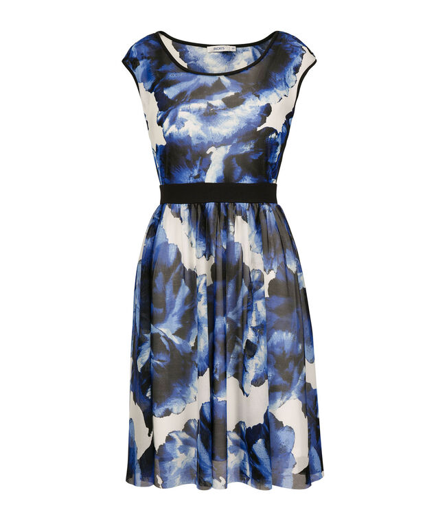 Floral Extended Sleeve Dress, Black/Blue Floral, hi-res
