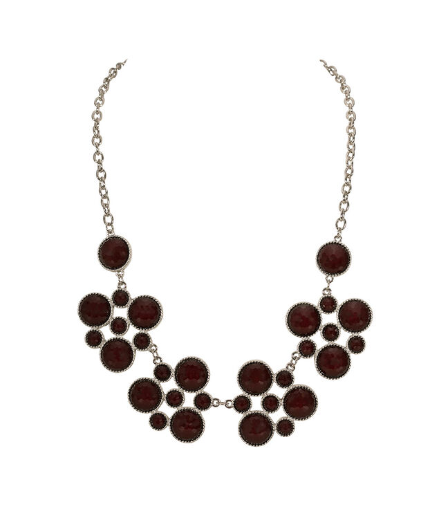 Port Coloured Circular Statement Necklace, Port/Rhodium, hi-res