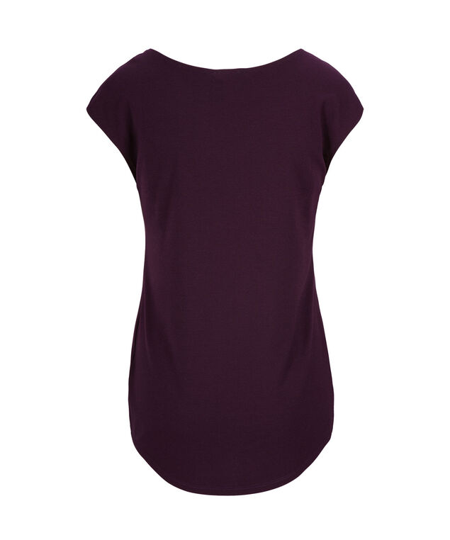 Extended Sleeve V-Neck Tee, Blackberry, hi-res