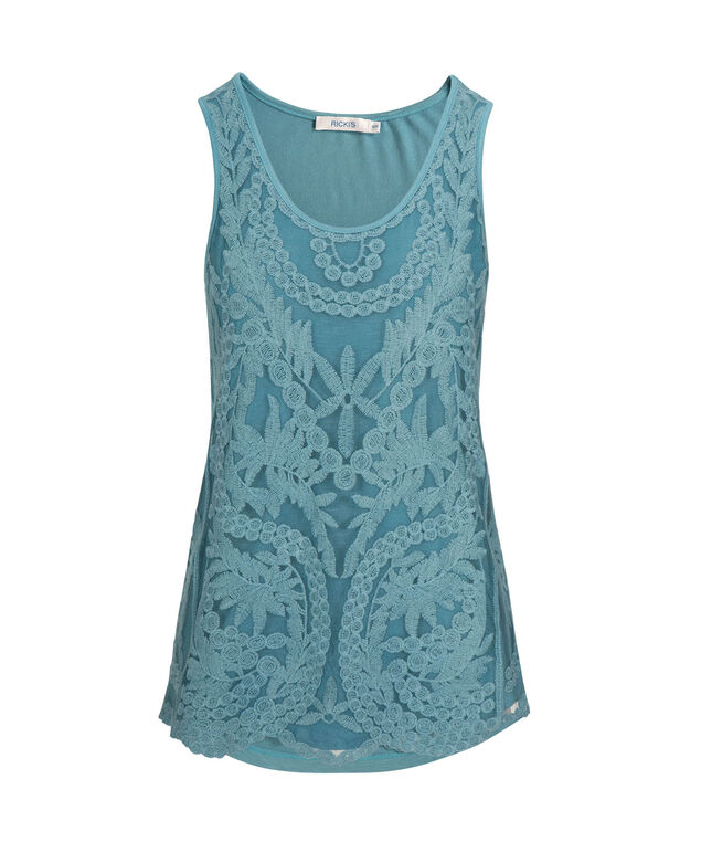 Sleeveless Lace Front Top, Lake Blue, hi-res