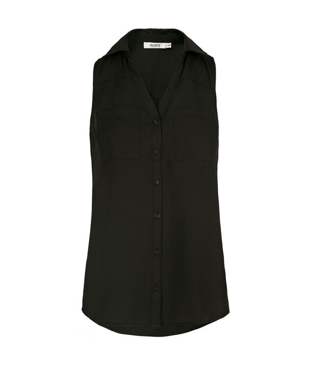 Sleeveless Collared Button-Front Shirt, Black, hi-res
