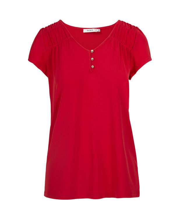 Short Sleeve V-Neck Shirt, Red, hi-res