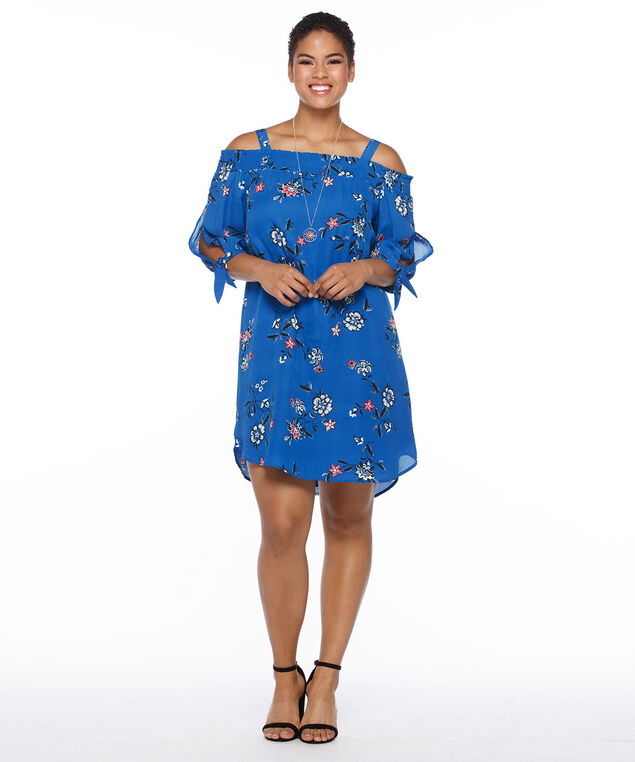 Tie Sleeve Convertible Floral Sundress, Blue Print, hi-res