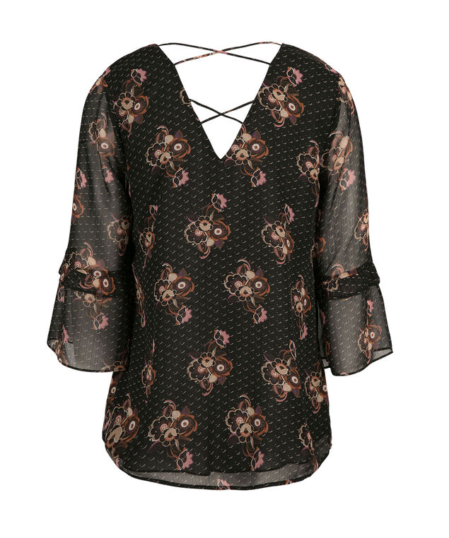 Criss Cross Back Blouse, Black Print, hi-res