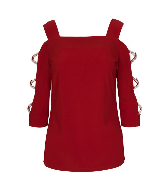 3/4 Cage Sleeve Top, Red, hi-res