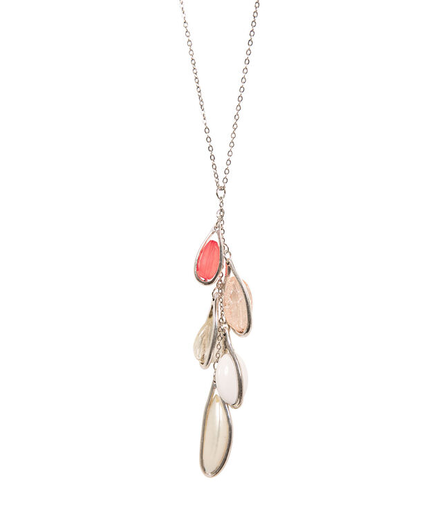 Pink Stone Cluster Necklace, Peach/Bright Coral/Brushed Silver, hi-res