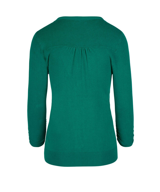 Button Front V-Neck Cardigan, Peacock Green, hi-res