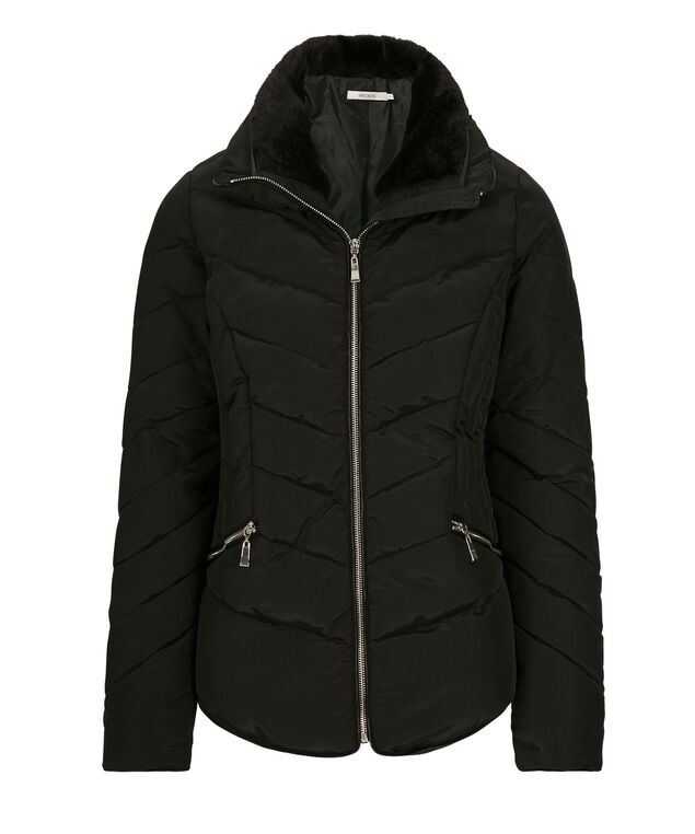 Quilted Shirttail Short Coat, Black/Silver, hi-res