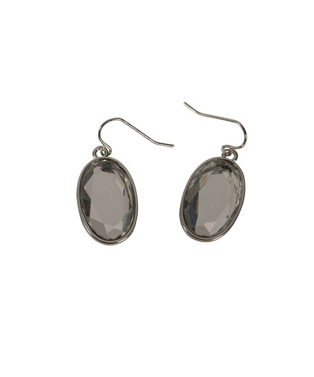 Oval Stone Earring, Rhodium, hi-res
