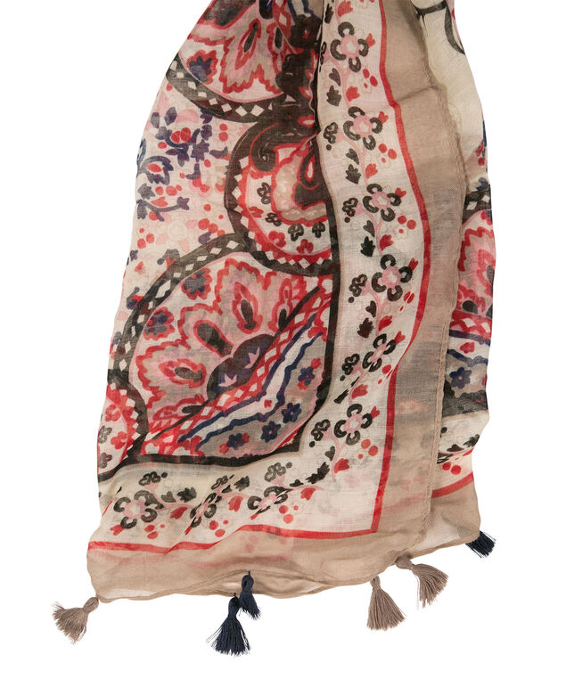 Paisley Print Oblong Scarf with Tassels, Pink/Navy/Neutral, hi-res