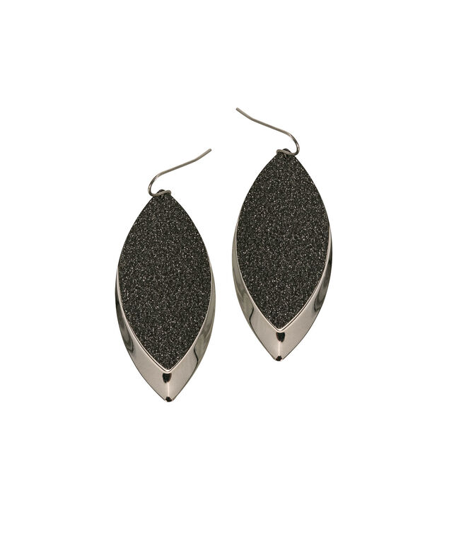 Textured Leaf Drop Earring, Rhodium, hi-res