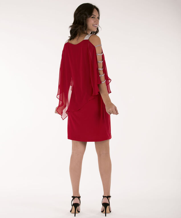 Cage Sleeve Cape Overlay Dress, Cherry, hi-res