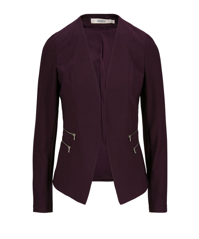 Zipper Detail Blazer, Dark Purple, hi-res