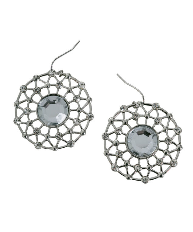Crystal Open Circle Earring, Clear/Rhodium, hi-res