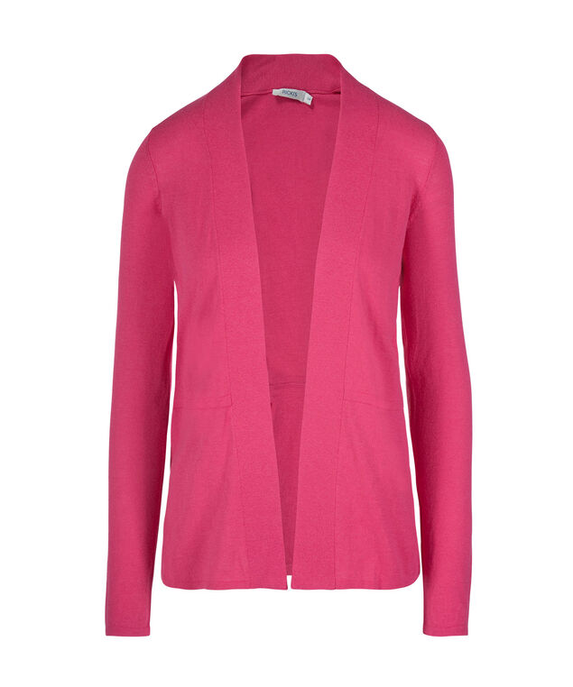 Pleated Waist Open Cardigan, Hot Pink, hi-res