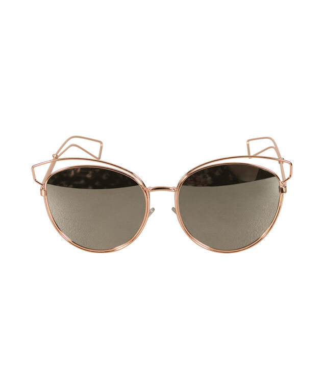 Mirrored Cateye Sunglasses, Rose Gold, hi-res