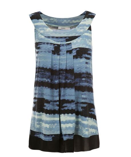 Pleat Neck Chiffon Trim Top, Sapphire Print, hi-res