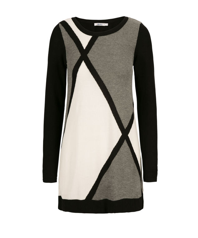 Diamond Pattern Tunic, Grey/Black/Milkshake, hi-res
