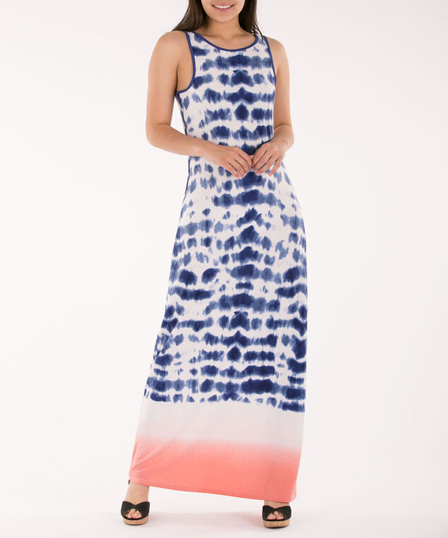 Ombre Tank Maxi Dress, Blue/White/Coral Ombre, hi-res