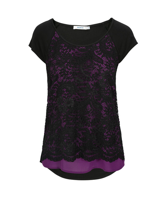 Lace Overlay Extended Sleeve Top, Black/Purple, hi-res