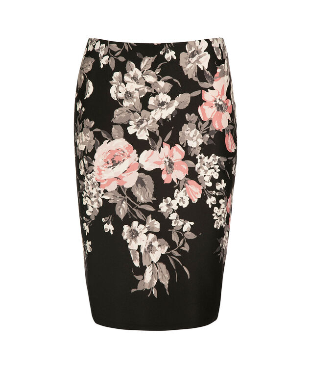 Floral Pencil Skirt, Black/Pink/Grey, hi-res