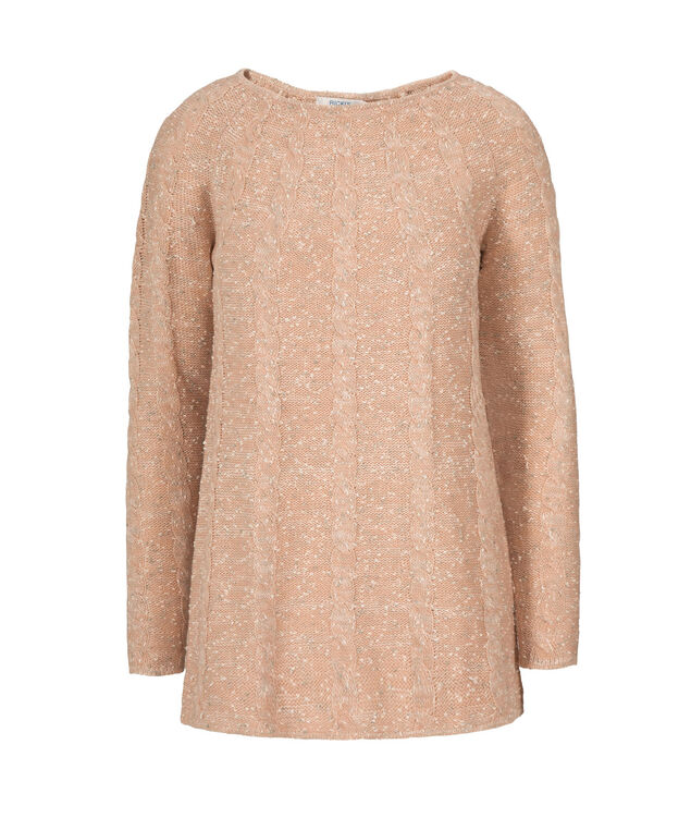 Cable Front Pullover , Peach Blossom Mix, hi-res