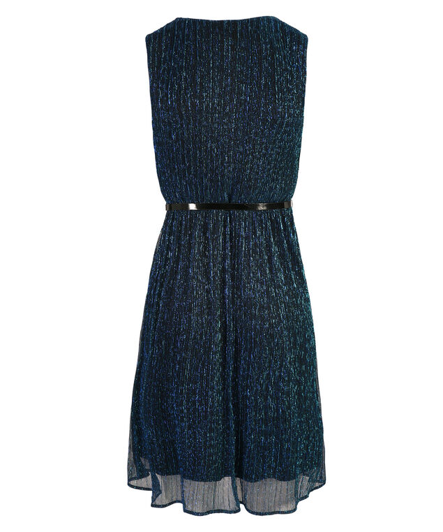 Belted Crossover Dress, Sapphire, hi-res