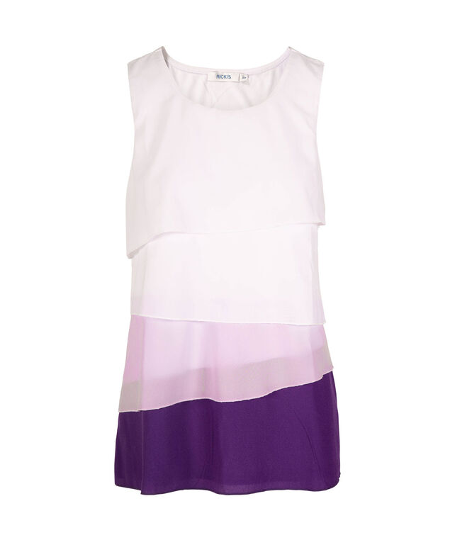 Ombre Layered Sleeveless Top, Purple/Iced Violet/White, hi-res