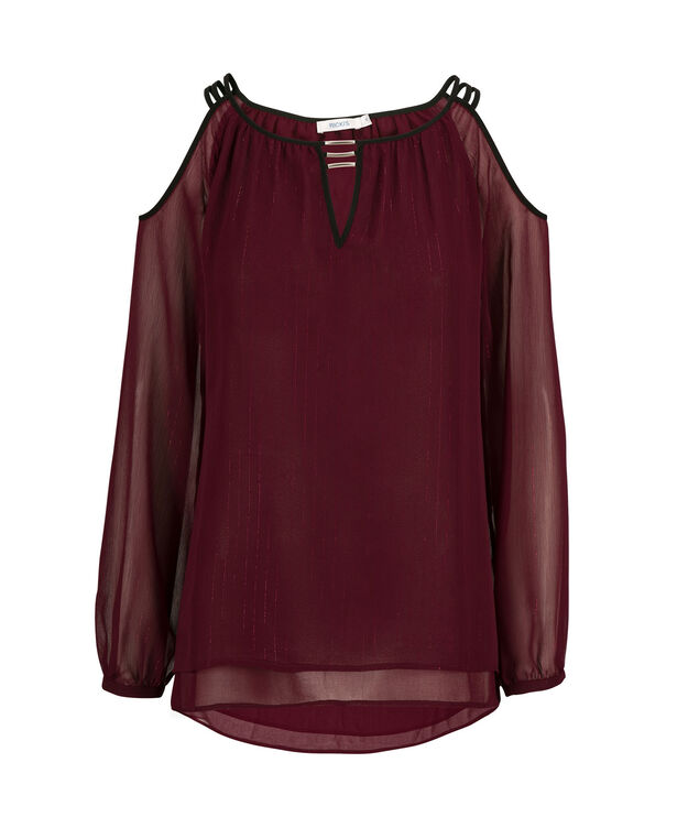 Metal Trim Cold Shoulder, Burgundy, hi-res