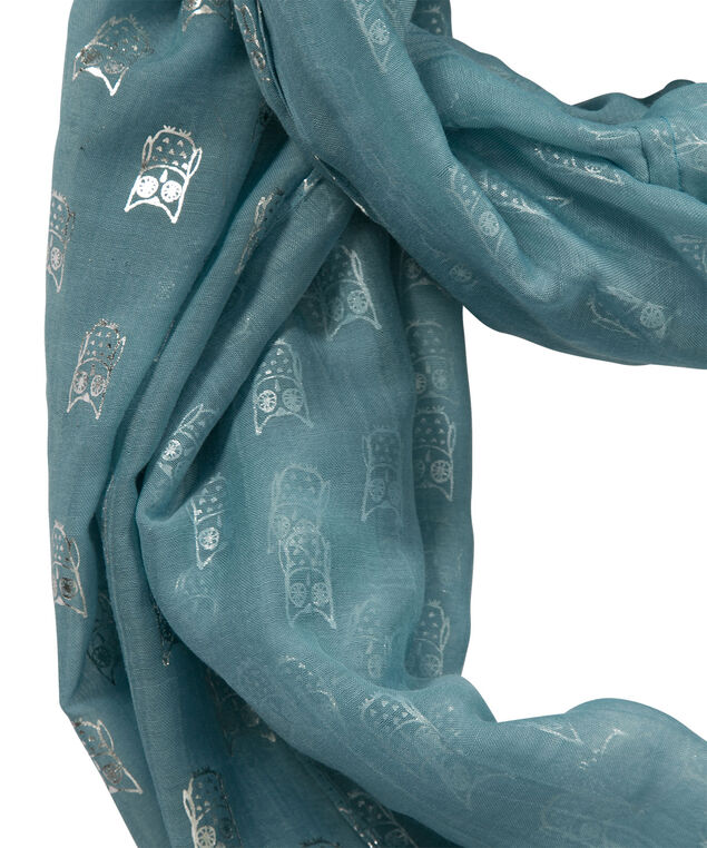 Owl Eternity Scarf, Mid Teal/Burnished Silver, hi-res