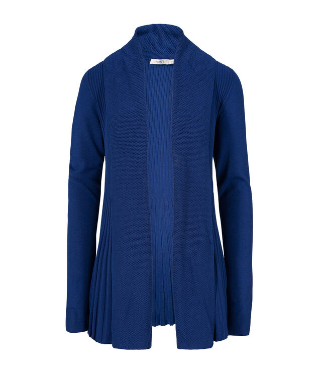 Pointelle Collar Ribbed Tulip Cardi, Mid Blue, hi-res