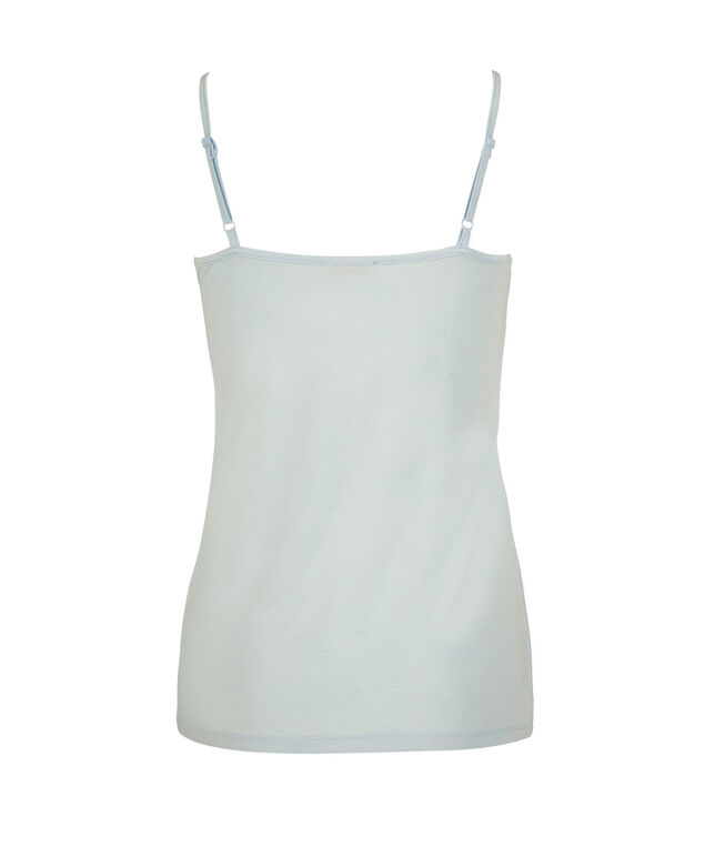 Strappy Satin Trim Cami, Frosted Blue, hi-res