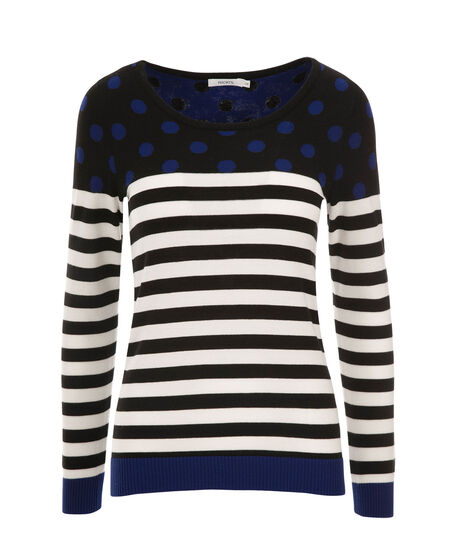 Stripe & Dot Pullover, Black/Royal Blue, hi-res