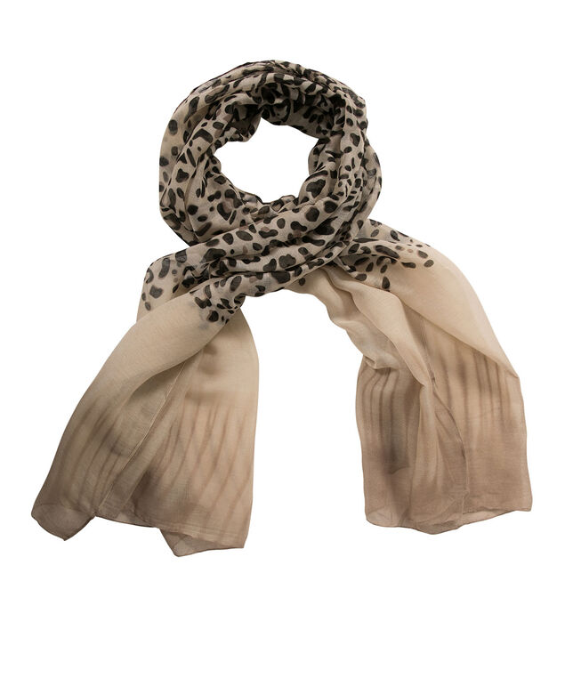 ANIMAL PRINT OMBRE SCARF, Brown Print, hi-res