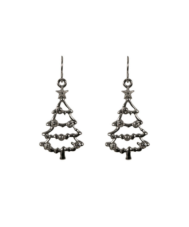Christmas Tree Earring, Rhodium, hi-res