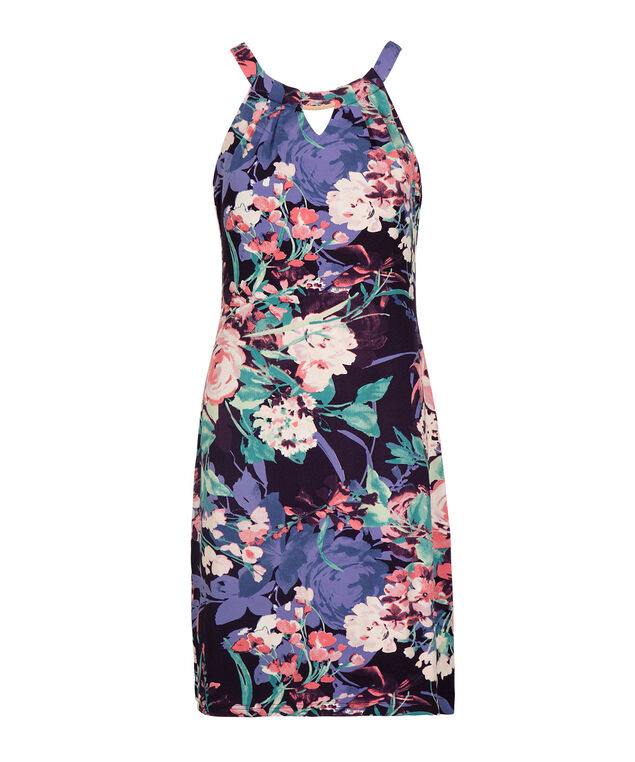 Floral Keyhole Trapeze Dress, Purple Floral, hi-res