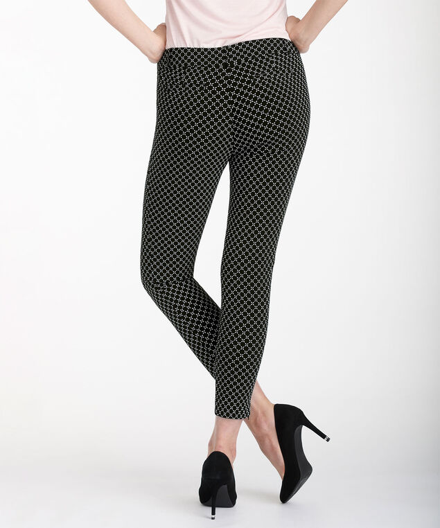 Microtwill Fly Front Ankle Zipper, Black Print, hi-res