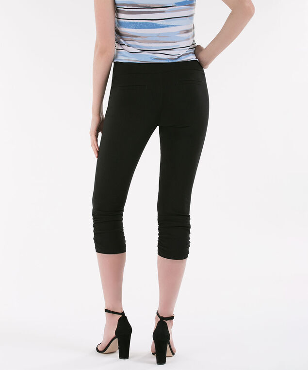 Microtwill Ruched Capri, Black, hi-res