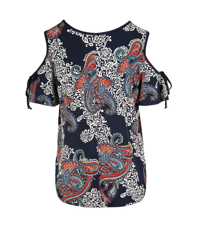 Cold Shoulder Puff Print Top, Navy/White/Red Print, hi-res