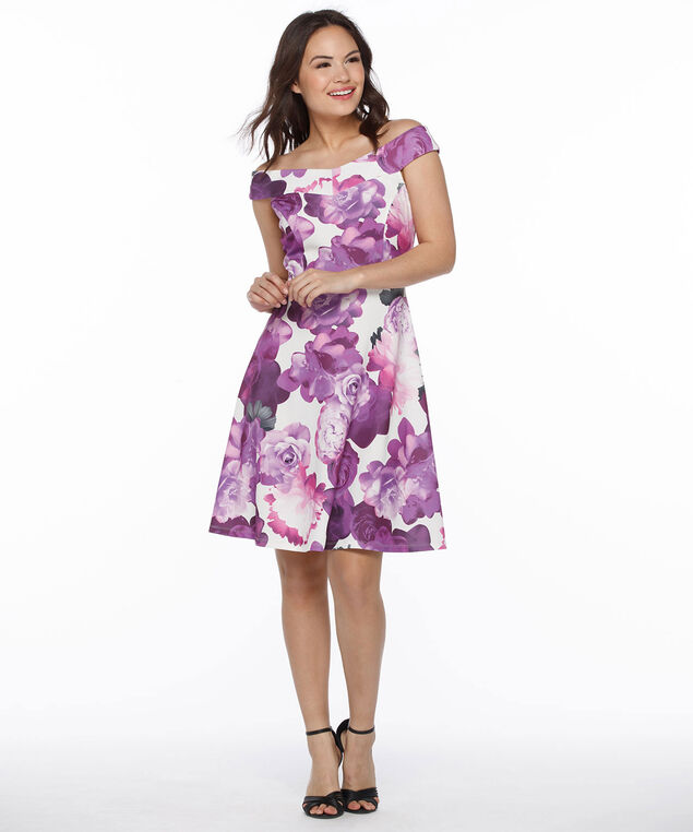 Off-The-Shoulder Fit & Flare Dress, White/Ultra Purple Floral, hi-res