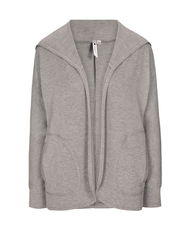 Open Hooded Knit Cardigan, Grey, hi-res