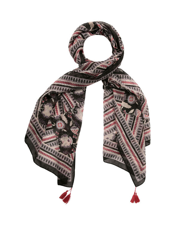 Patchwork Print Oblong Scarf with Tassels, Watermelon/Plum/Blue, hi-res