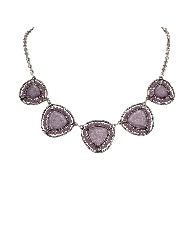 Glitter Stone & Bead Statement Necklace, Iced Violet/Burnished Silver, hi-res